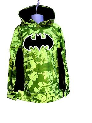 BATMAN BOYS Bright Green HOODIE Pullover Long Sleeve - Boys Size XS 4/5