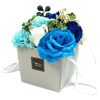 Luxury Handmade Soap Flower Bouquet. Blue Flowers Gift Bag/Box Mothers Day