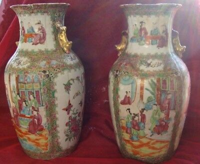 Chinese Famille Rose C19th large Vases (pair)