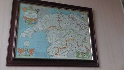 Old map of North Wales framed