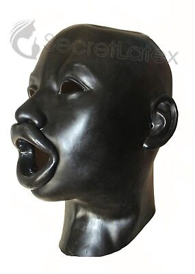 Black Latex Rubber Hood Fetish Bondage Gimp Woman Mouth Gag Oral Toy Female Mask