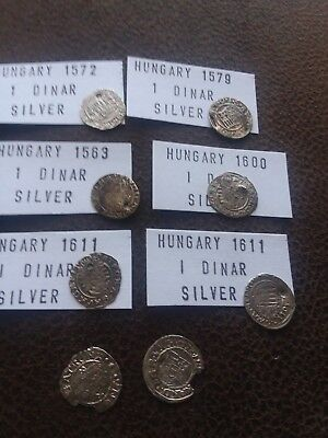 Lot of 8 Hammered silver coins from Hungary 1500s-1600s