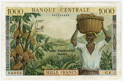 Cameroun 1962 Issue 1000 Francs Banknote Rare Crisp Vf.pick#12.