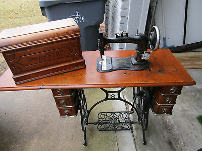 Vintage Domestic Treadle Machine Cast Iron Frame Wooden Cabinet Coffin Cover