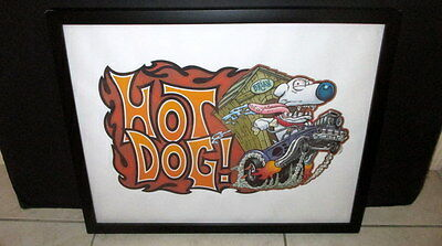 Family Guy Brian Hot Dog Rat Fink Ed Roth Style Print Framed Hot Rod Muscle Cars