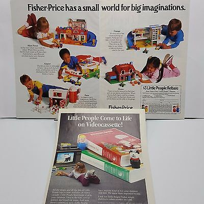 Fisher Price Little People ad 1988 print magazine 3 pages VHS Airport Farm 1980s