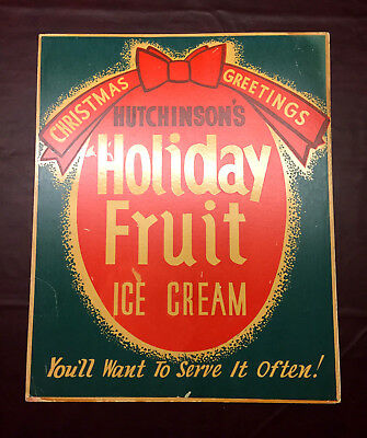 VTG 1920'S HUTCHINSON'S ICE CREAM SIGN POSTER CHRISTMAS IOWA HUTCHINSON 22 x18""