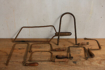 Old Coping Saws and Fine Wood Working Hand Saw Frames with Handles