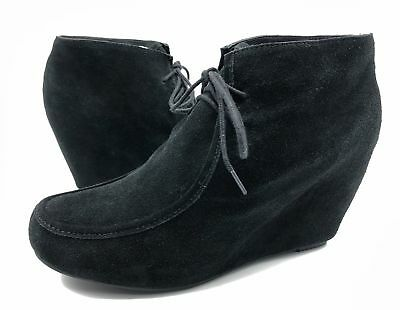 564f9573fc2c DV Dolce Vita Pilar Womens 9.5 Black Suede Lace Up Wedge Booties Ankle Boots