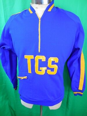 Vintage 1960s 70s Blue Nylon Spicer of Melbourne Zip-Up Polo Training Top 36 S