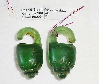 Pair 9C Khmer Stylized Fruit Motif Green Glass Earrings - Excavated (Mil)