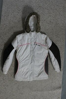 Girl's Columbia Winter Coat Parka Jacket 10/12 Cream Pink Brown