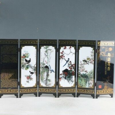 Chinese Lacquerware Handwork Painting  Birds' twitter and fragrance of flowers