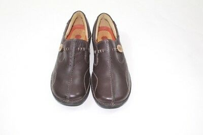 Unstructured By Clarks Women's Un.Loop Brown Leather slip on Loafer Size 7M Shoe