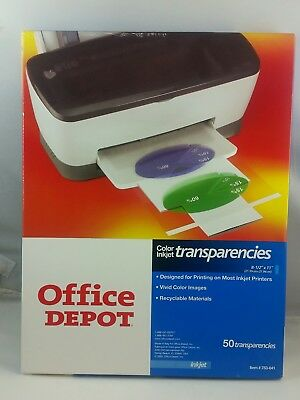 Office Depot Color Inkjet Printer Clear Transparency, 33 out of 50 sheets left