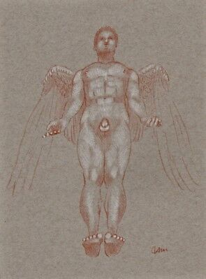 ORIGINAL NUDE MALE ANGEL FIGURE 9x12 RED WHITE CHALK PASTEL DRAWING