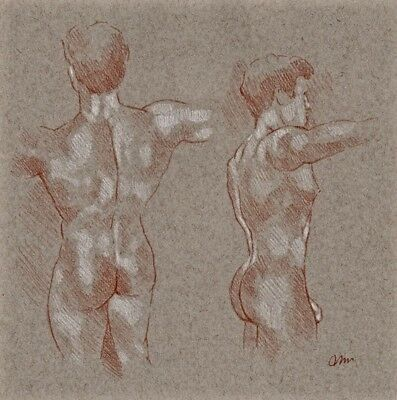 ORIGINAL NUDE MALE FIGURE 10x10 RED WHITE CHALK PASTEL DRAWING