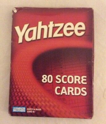 Yahtzee Score Cards Pads Sheets, 80 Count, for the Hasbro Game 06100