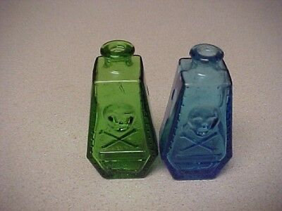 TWO - Wheaton Mini Skull RIP Coffin Poison Bottles  GREEN & BLUE Colors