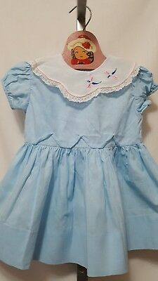 Vtg 1950's? Usa Made Honeysuckle Fashions Sears Blue Collar Party Dress Size 3