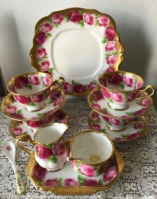 Royal Albert Old English Rose Crown China Tea Set Heavy Gold Cake Plate Cups +