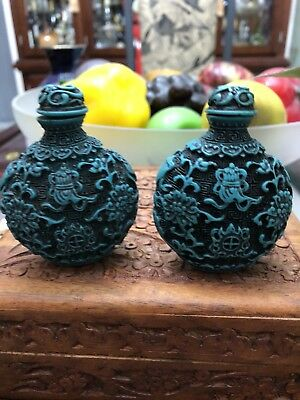 Pair of  Snuff Bottles with beautiful designs