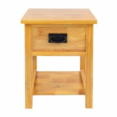 Bedside Side Table Night Stand Solid Oak Wood Cabinet Storage Home Furniture