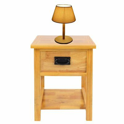 Waxed Oak Side Table / Solid Wood Lamp Table / Small Coffee Table with Drawer