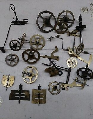 Assorted Clock Wheels And Other Parts To Repair Clocks Or Steampunk