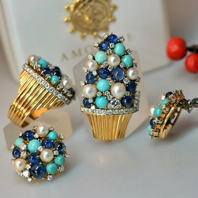 18k gold Diamond Sapphire Turquoise Pearl Jewelry set ring earring brooch studs
