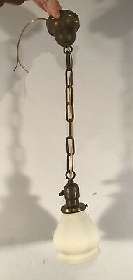 """Antique vtg beam canopy light fixture chain pendant rewired 2 1/4"""" fitter shade"""