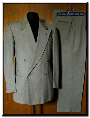 Vtg 50's Khaki/Teal WINDOWPANE CHECK DOUBLE BREASTED SUIT Sz 38 - Pants 31x30