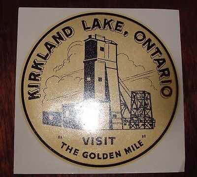 Vintage 1960's Canada Travel Souvenir Decal KIRKLAND LAKE, ONT