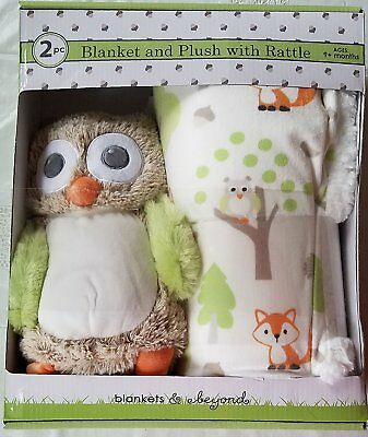 Luxury Super Soft Plush Blanket Set with Owl Rattle Toy/ Baby and Toddler