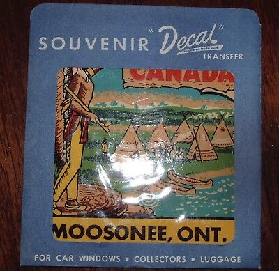 Vintage 1960's Canada Travel Souvenir Decal MOOSONEE, ONT