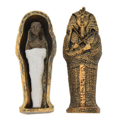 Novelty Resin Egyptian Mummies Figure Statue in Sarcophagus Trick Toy Home Decor