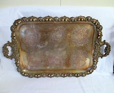 RARE Antique Silverplate Silver Plate serving Tray Acorns, chased design, 30""