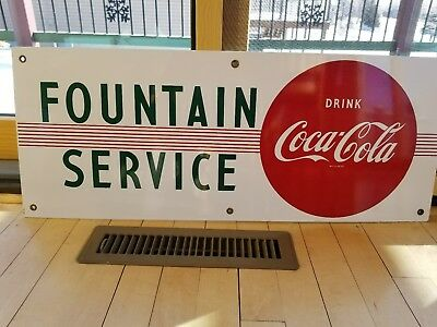 1950s 60s COCA COLA PORCELAIN FOUNTAIN SERVICE SIGN NO RESERVE NICE