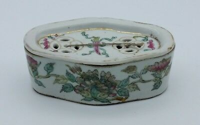 Antique Chinese Porcelain Famille Rose Incense Cricket Box Handpainted