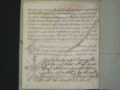 RARE Four-Page Medieval Vellum Deed Document w/ Seals, Italy, Dated 1597