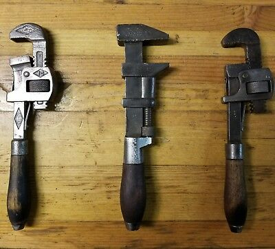 RARE Vintage ANTIQUE Adjustable Wrenches • 1800s Patent • Old Machinist Tools US
