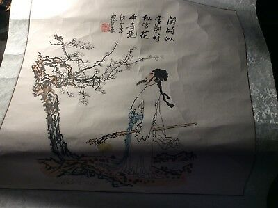 Chinese scroll painting Man With Walking Stick And Tree With Writing