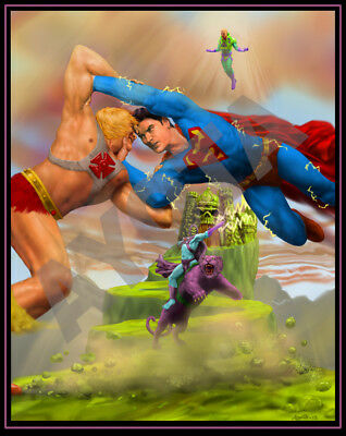 Superman vs He-Man Limited Edition Poster 10.5 x 13.5 in