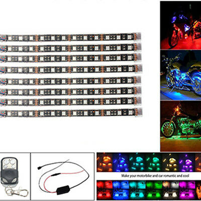 Motorcycle LED Under Glow Light Kit Multi-Color Neon Strip Remote Control