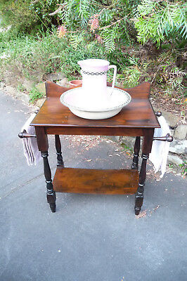 Antique Turned Leg Australian Cedar Washstand & Antique Gibsons Jug & Basin Set