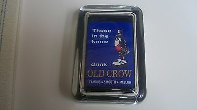 Old Crow Whiskey Bourbon Those Drink OC Blue Advertising Sign GLASS PAPERWEIGHT