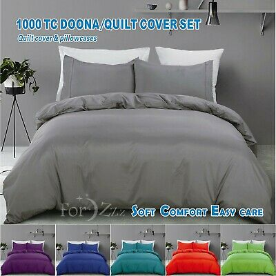 1000TC 3 piece Quilt/Duvet/Doona Cover Set S/KS/D/Queen/King/Super King Size Bed