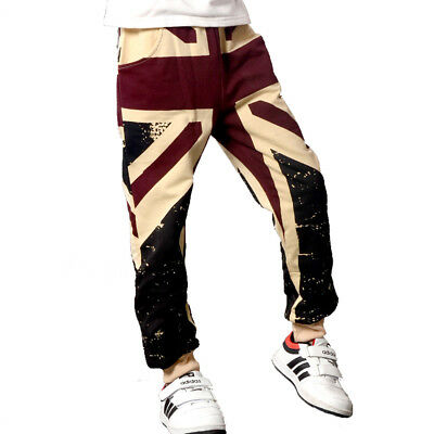 Naber Boys Casual Pants Union Jack Pattern Elastic Cotton Trousers Age 4-10 Yrs