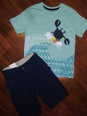 5 T GAP KIDS GYMBOREE 2pc Aqua Crab Shirt Navy Blue Cargo Shorts Boy Outfit  NWT