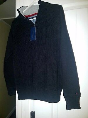 Boys Tommy Hilfiger Pullover Sweater With A Partial Zip Closure Size Large 16-18